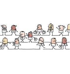 cartoon group mixed ethnic people walking vector image