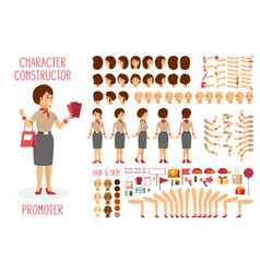 Character constructor set for woman promoter in vector