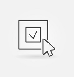 Click on check mark icon in outline style vector