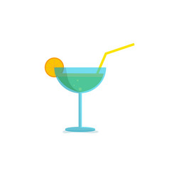 cocktail glass icon with liquor and lemon vector image