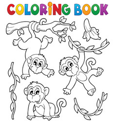Coloring book monkey theme 1 vector