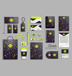 corporate identity template set with neon color vector image