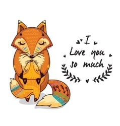 Cute foxes with text I love you so vector