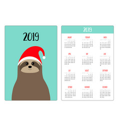cute sloth animal head face red santa hat simple vector image