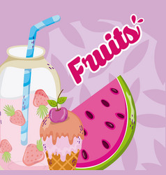 delicious fruits cartoons vector image