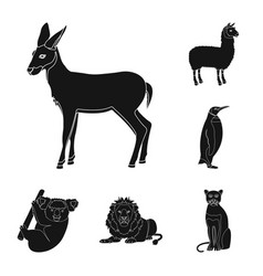different animals black icons in set collection vector image