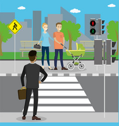 Different pedestrians in a crosswalk vector