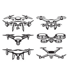 Drone quadrocopter logo design emblem vector