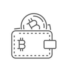 earn bitcoin wallet thin line symbol icon design vector image