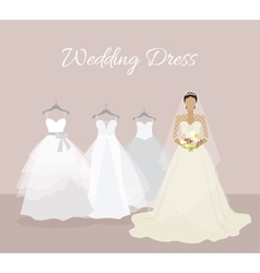Fashionable Bride Choose Wedding Dress Banner vector