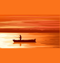 fisherman against orange sunset vector image