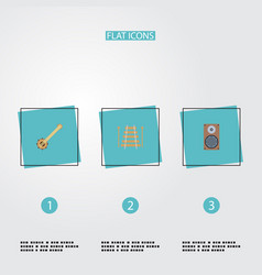 flat icons audio box musical instrument banjo vector image