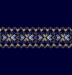 Floral grecian seamless border pattern blue vector