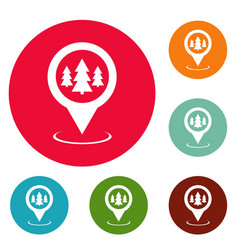 forest map pointer icons circle set vector image