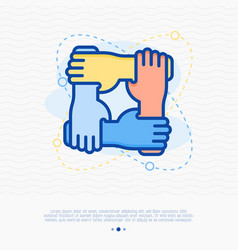 four hands hold together for the wrist other vector image