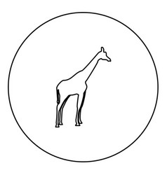 Giraffe black icon in circle outline vector