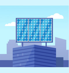 glossy solar powered on top building vector image