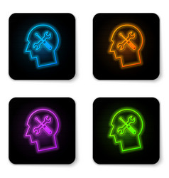glowing neon human head with with screwdriver and vector image