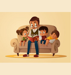 Grandfather sitting with grandchildren on a cozy vector