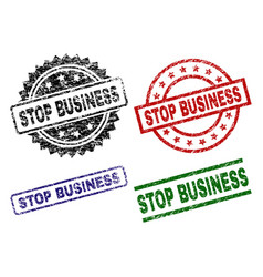 Grunge textured stop business seal stamps vector