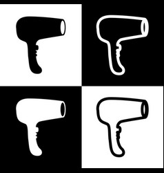 hair dryer sign black and white icons and vector image