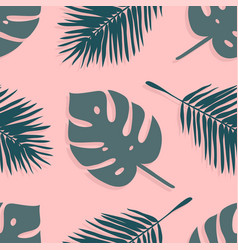 Hand drawn summer seamless pattern with palm vector