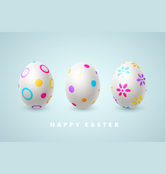 happy easter holiday composition with 3d eggs vector image