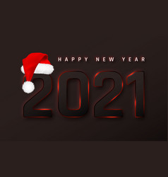 happy new year 2021 cover with santa hat template vector image