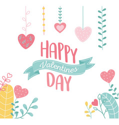 happy valentines day lettering hang hearts love vector image