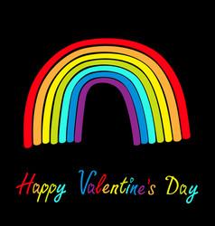 Happy valentines day rainbow on black background vector