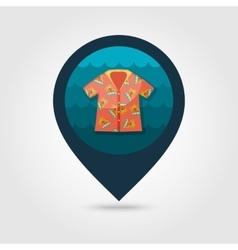Hawaiian Shirt palm tree pin map icon Vacation vector image