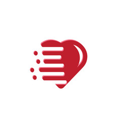 Heart lovely calligraphy icon with fast speed vector