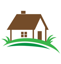 House and green grass vector