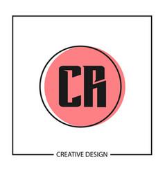initial letter cr logo template design vector image