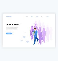 Isometric hiring and recruitment job candidates vector