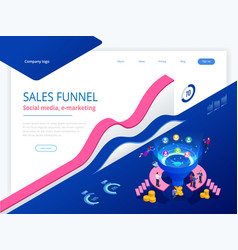 isometric online funnel generation sales customer vector image