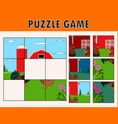 Jigsaw puzzle game with rooster and chicken vector