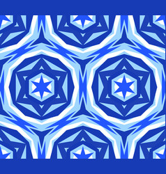 Kaleidoscopic seamless pattern blue star vector