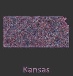 Kansas line art map vector