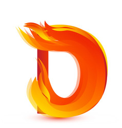 letter d in fire flame icon vector image
