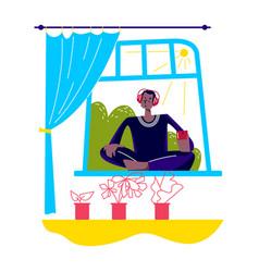 Man meditating at home listening to music vector