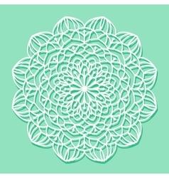 Mandala white lace ornament vector image