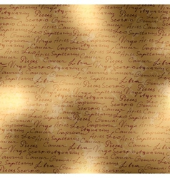 Manuscript background of zodiac names vector