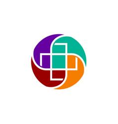 Medical health clinic cross circle logo vector