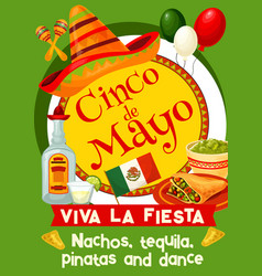 mexican cinco de mayo holiday invitation poster vector image