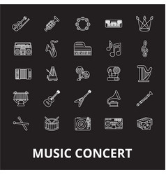 music concert editable line icons set on vector image