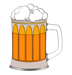 Object on white background beer in a glass mug vector