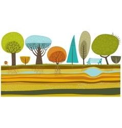 Park trees set vector