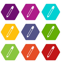 pencil with eraser icon set color hexahedron vector image