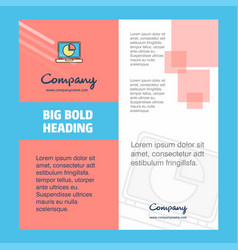 pie chart on laptop company brochure title page vector image